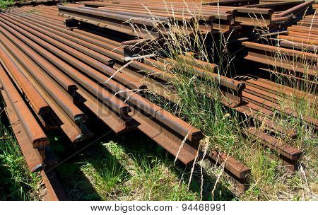 Pile Of Old Rusty Rails