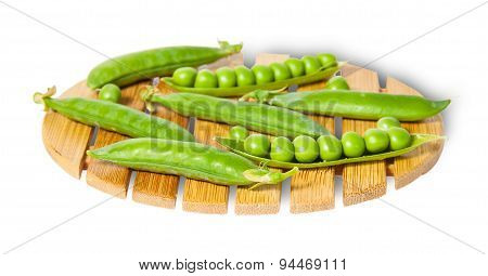Pods Of Peas On Bamboo Small Board