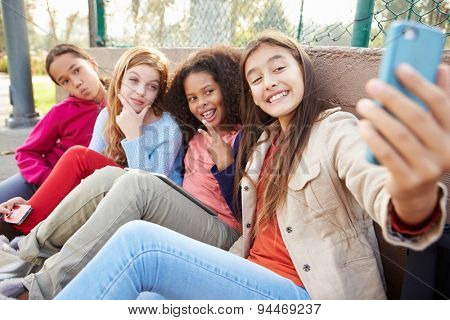 Young Girls Taking Selfie With Mobile Phone In Park