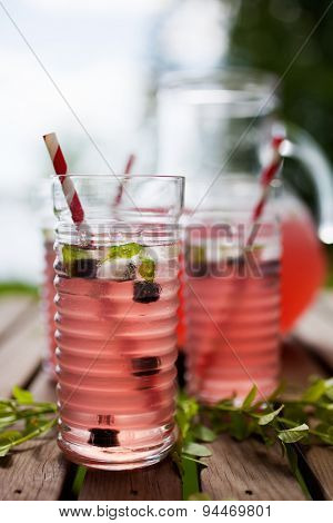 Homemade lemonade made from red berries