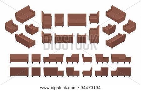 Isometric modern armchair and sofa