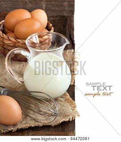 Chicken Eggs, Whisk And Milk