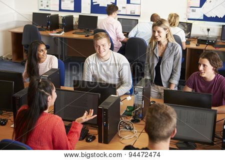 College Students At Computers In Technology Class