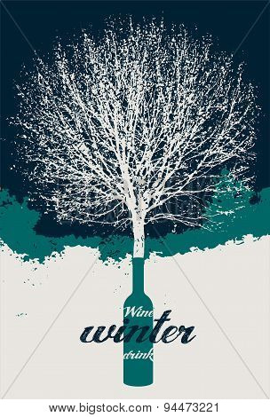 Typographic retro wine poster with tree. Vector illustration.