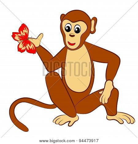 monkey with butterfly