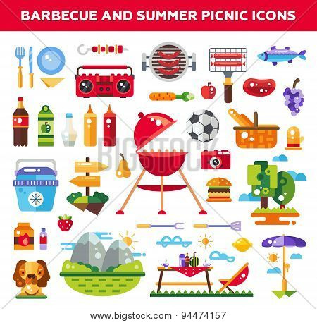 Set of flat design barbecue and summer picnic icons, infographics elements