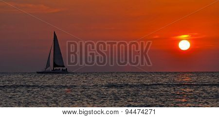 Beautiful sail at dusk