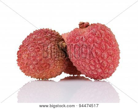 lychee fruits isolated on white