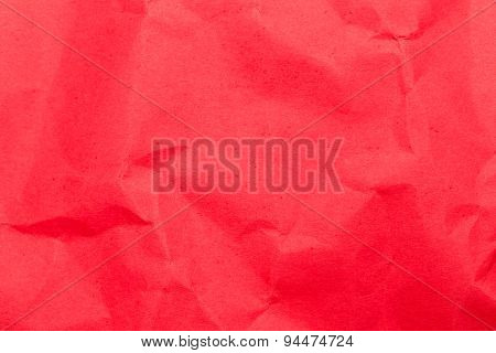 Texture of old red wrinkled paper
