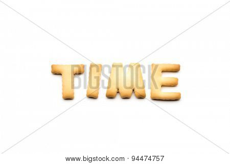 Word time biscuit isolated on white background
