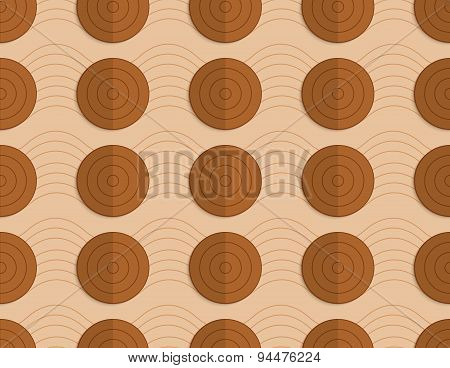 Retro Fold Brown Circles On Bulging Waves