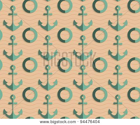 Retro Fold Sea Green Anchors