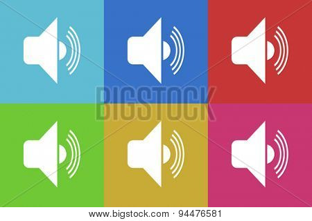 audio vector flat web icons set  original modern design for web and mobile app