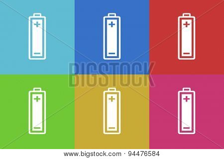 battery vector flat web icons set  original modern design for web and mobile app