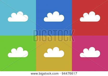 cloud vector flat web icons set  original modern design for web and mobile app
