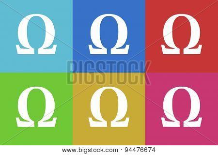 omega vector flat web icons set  original modern design for web and mobile app