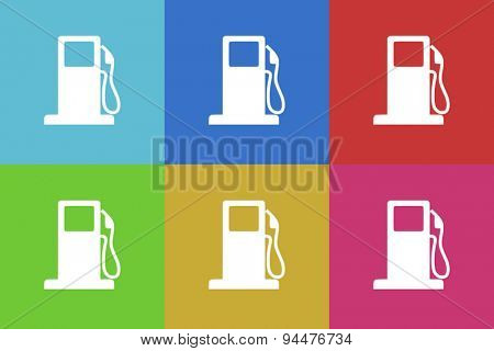 fuel vector flat web icons set  original modern design for web and mobile app