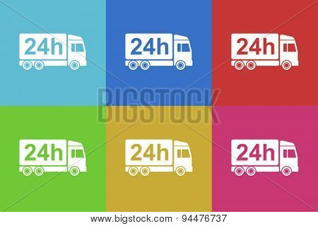 shipping vector flat web icons set  original modern design for web and mobile app