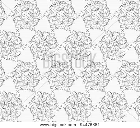 Slim Gray Striped Twisted Flowers In Grid