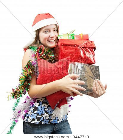 Teenage Girl  With Christmas Gifts