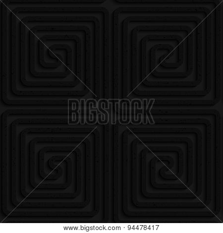 Textured Black Plastic Square Spirals Reflected