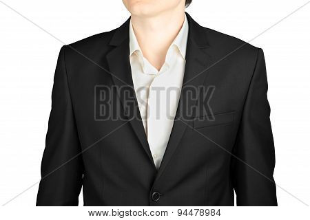 Dark Gray Mens Suit Close-up Coat With A White Shirt