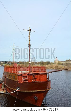 Vintage Wooden Frigate At The Shlisselburg Canal, Russia