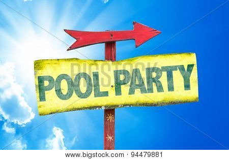 Pool Party sign with sky background