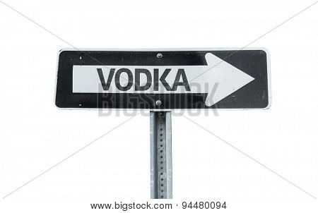 Vodka direction sign isolated on white