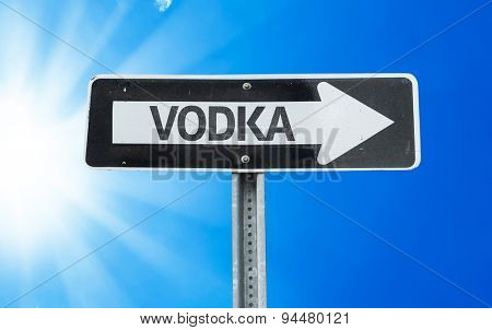 Vodka direction sign with a beautiful day