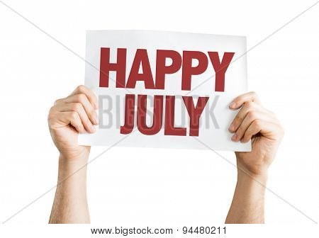 Happy July card isolated on white