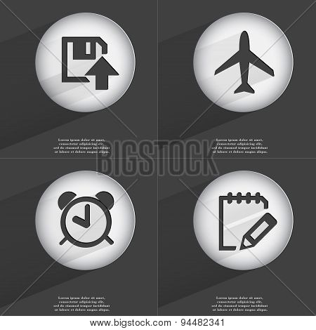 Floppy Disk Upload, Airplane, Alarm Clock, Notebook Icon Sign. Set Of Buttons With A Flat Design. Ve