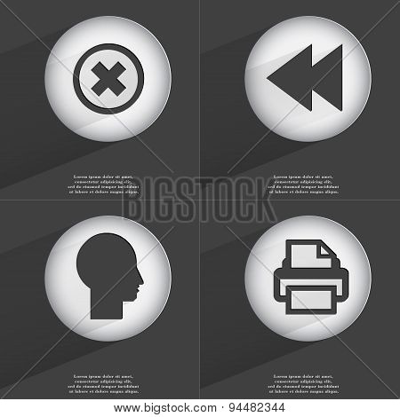 Stop, Rewind, Silhouette, Printer Icon Sign. Set Of Buttons With A Flat Design. Vector