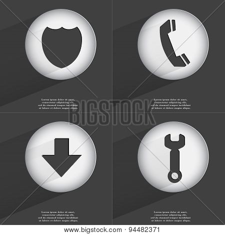 Badge, Receiver, Arrow Directed Down, Wrench Icon Sign. Set Of Buttons With A Flat Design. Vector
