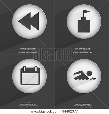 Rewind, Flag Tower, Calendar, Swimmer Icon Sign. Set Of Buttons With A Flat Design. Vector