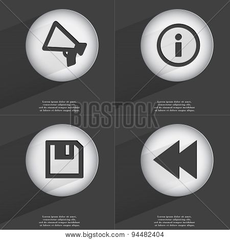Megaphone, Information, Floppy Disk, Rewind Icon Sign. Set Of Buttons With A Flat Design. Vector