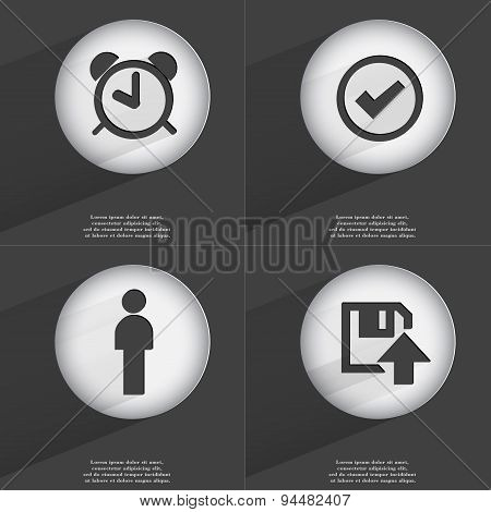 Alarm Clock, Tick, Silhouette, Floppy Disk Upload Icon Sign. Set Of Buttons With A Flat Design. Vect