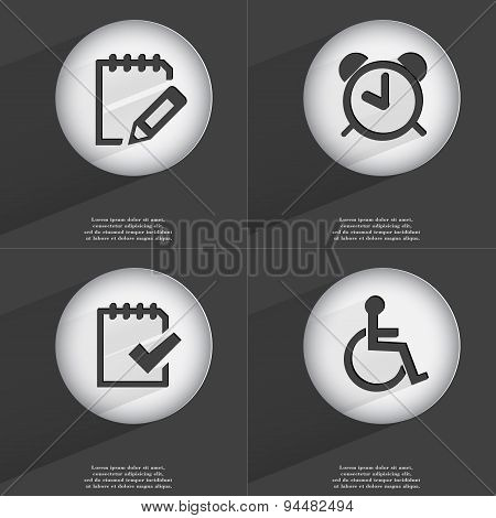 Notebook, Alarm Clock, Task Completed, Disabled Person Icon Sign. Set Of Buttons With A Flat Design.
