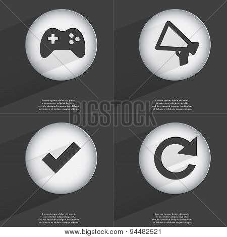 Gamepad, Megaphone, Tick, Reload Icon Sign. Set Of Buttons With A Flat Design. Vector
