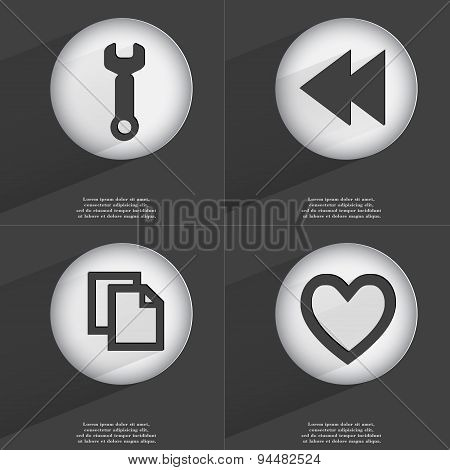 Wrench, Rewind, Copy, Heart Icon Sign. Set Of Buttons With A Flat Design. Vector