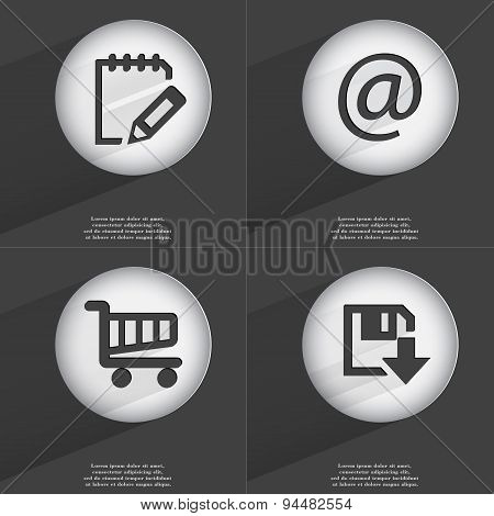 Notebook, Mail, Shopping Cart, Floppy Disk Download Icon Sign. Set Of Buttons With A Flat Design. Ve