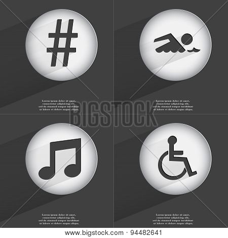 Hashtag, Swimmer, Note, Disabled Person Icon Sign. Set Of Buttons With A Flat Design. Vector