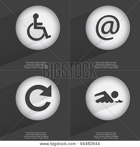 Disabled Person, Mail, Reload, Swimmer Icon Sign. Set Of Buttons With A Flat Design. Vector
