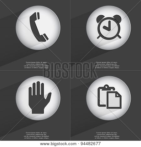 Receiver, Alarm Clock, Hand, Tasklist Icon Sign. Set Of Buttons With A Flat Design. Vector