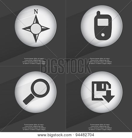 Compass, Mobile Phone, Magnifying Glass, Floppy Disk Download Icon Sign. Set Of Buttons With A Flat