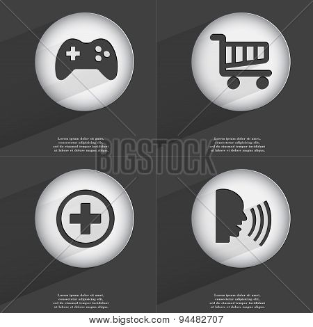 Gamepad, Shopping Cart, Plus, Talk Icon Sign. Set Of Buttons With A Flat Design. Vector