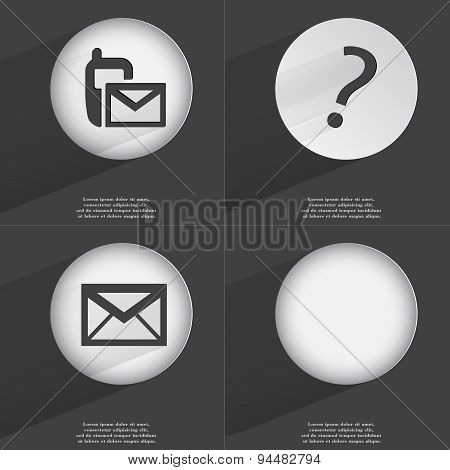 Sms, Question Mark, Message Icon Sign. Set Of Buttons With A Flat Design. Vector
