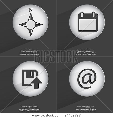 Compass, Calendar, Floppy Disk Upload, Mail Icon Sign. Set Of Buttons With A Flat Design. Vector