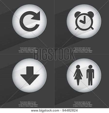 Reload, Alarm Clock, Arrow Directed Down, Silhouette Of Man And Woman Icon Sign. Set Of Buttons With