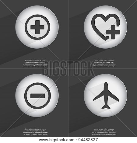 Plus, Heart With Plus, Minus, Airplane Icon Sign. Set Of Buttons With A Flat Design. Vector